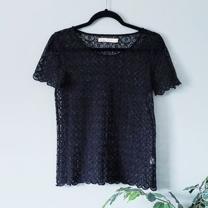 Hi-Line by Madewell Black Lace Top